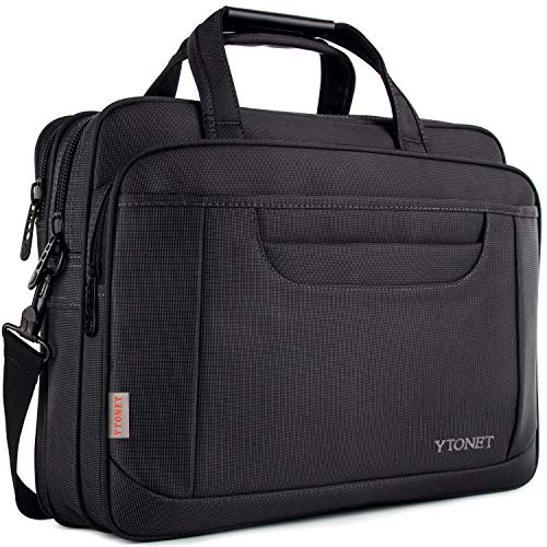 Ytonet Laptop Briefcase,15.6 Inch Laptop Bag,Business Office Bag for Men Women,Stylish Nylon Multi-Functional Shoulder Messenger Bag for Notebook Computer Tablet MacBook Acer HP Dell Lenovo,Black Grey