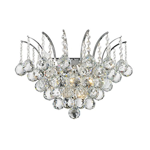 - Worldwide Lighting Empire Collection 3 Light Chrome Finish and Clear Crystal Wall Sconce 16