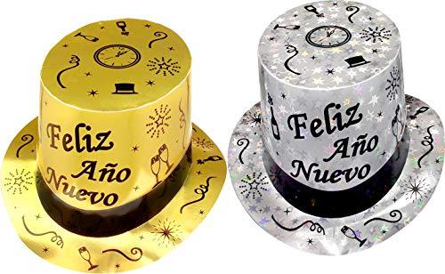 - 12 Top Hats - Feliz Año Nuevo en Español, Happy New Year Party top Hats in Spanish (Gold and Silver)