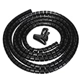 Clearance Sale!UMFun Flexible Spiral Tube Cable Winder Cable Organizer Wire Wrap Cord Protector 10mm/25mm (Black, 10mm)
