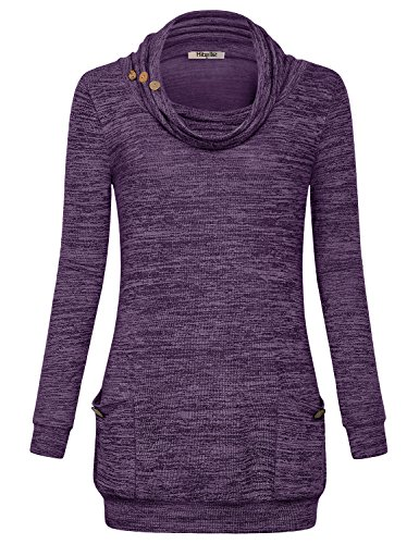 - Hibelle XXL Tunic, Sweaters for Women Plus Size Tops Long Sleeve Turtle Neck Shirts with Pockets Ladies Sweatshirts Casual Soft Surrounding Boutique Flattering Autumn Heather Purple 2XL