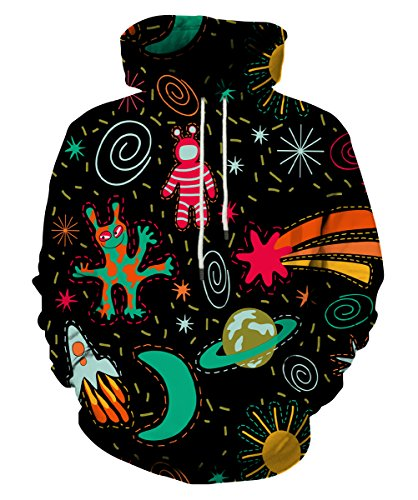 Neemanndy 3D Sweaters Hoodie with Galaxy Outspace Cosmic Graphic Design for Teen Boy and Girl, XX-Large