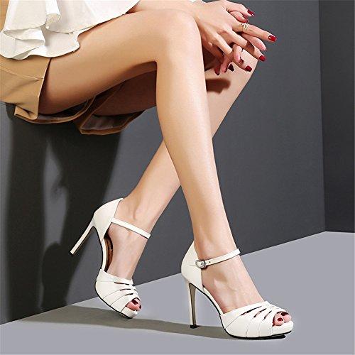Sandales Noir Plate Forme Femmes Talons Bout Soirée white Ouvert Strap Sandales NVXIE Cheville Partie Été Hauts Weding 8FP7qxwwz