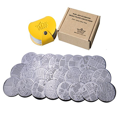 PUEEN Nail Art Stamp Collection Set 24M - Make Your Day - NEWEST Unique Set of 24 Nailart Polish Stamping Manicure Image Plates Accessories Kit (Totaling 144 Images) with BONUS ()