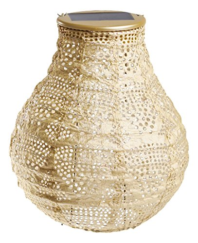 Allsop Home and Garden Soji Stella Pearl Wave Bulb LED Outdoor Solar Lantern, Handmade with Weather-Resistant Tyvek Fabric, Color (Pearl Wave)