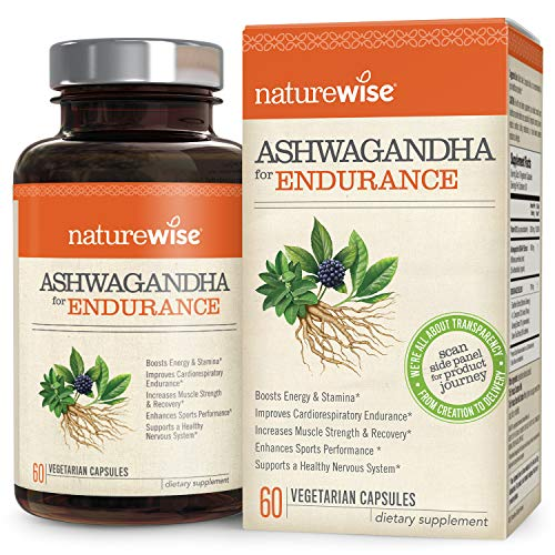 NatureWise Ashwagandha for Endurance | Adrenal Support Energy Supplement | KSM 66 Ashwagandha Organic Extract + CoQ10, Ginseng, Eleuthero, B12 Green Tea (⬇ Watch Video in Images) [1 Month - 60 Count