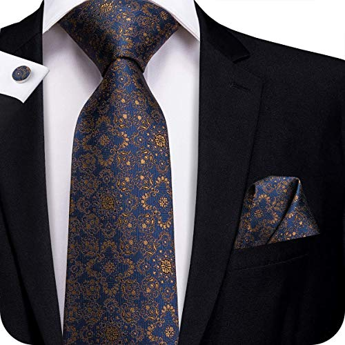 (Hi-Tie New Arrival Mens Blue with Brown Floral Tie Necktie Pocket Square and Cufflinks Tie Set Gift Box)