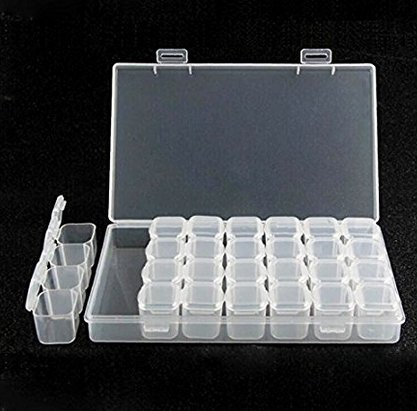 Iyhouse Removable Clear Plastic Box Nail Art Rhinestone 28-Grid Jewelry Diamonds Earrings Beads Necklace Storage Box Display Case