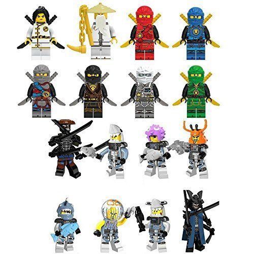 Xmas Hero Ninja Movie and Shark mini Figure Building Block Set 16 pc with Accessories for Party Cake or Cupcake Toppers