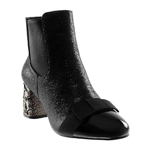 Slip Angkorly Foderato Boots Alto Nodo Chelsea Cm Scarpe materiale 6 Bi A on Pelliccia Moda Strass Blocco Leggermente Tacco 5 Stivaletti Nero Effetto Donna Di Scarponcini Craquelé 8Xg8frwq