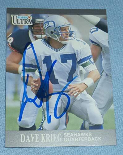 Dave Krieg Signed 1991 Fleer Ultra Seahawks Football Card 140 Autograph Pro Bowl - NFL Autographed Football Cards -