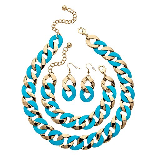 Enamel Jewelry Blue (Palm Beach Jewelry Gold Tone and Blue Enamel Curb-Link Drop Earrings, Bracelet and Necklace Set, 18
