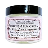 AHA Face Cream ORGANIC Natural Triple Alpha Hydroxy Acid & Multi Fruit Acids Complex. Lactic Acid, Glycolic Acid, Citric Acid, and Malic and Tartaric Acids Plus Antioxidants 1 OZ Glass Jar