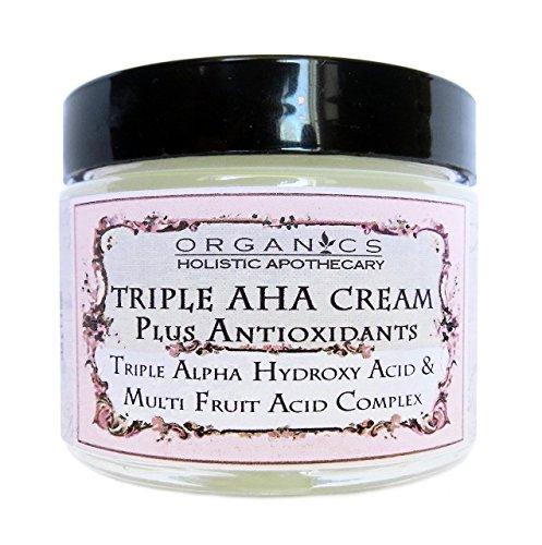 AHA Face Cream ORGANIC Natural Triple Alpha Hydroxy Acid & Multi Fruit Acids Complex. Lactic Acid, Glycolic Acid, Citric Acid, and Malic and Tartaric Acids Plus Antioxidants 1 OZ Glass Jar by HOLISTIC APOTHECARY ORGANICS