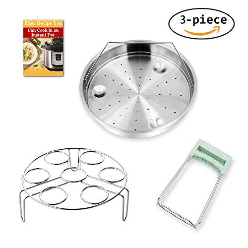Steamer Basket Rack Set for Instant Pot Accessories - Fits Instant Pot 5, 6, 8qt Pressure Cooker with Foldable Bowl Plate Dish Clip Clamp, Stainless Steel 3 Packs (Steamer Basket Set)