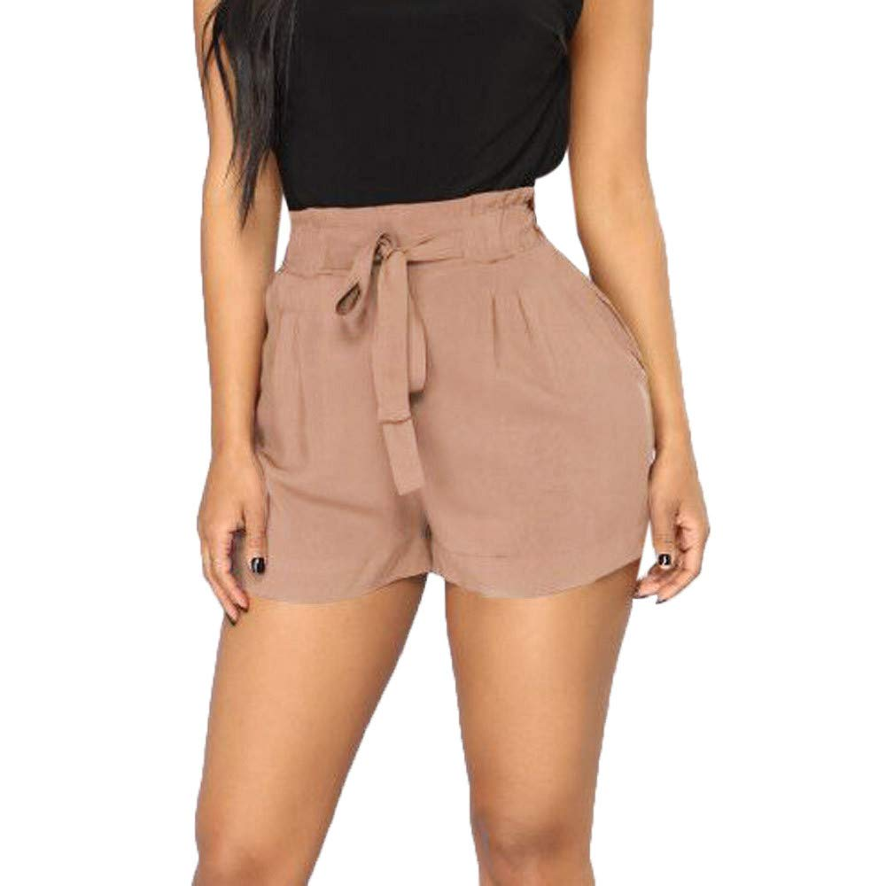 Nevera 2019 Women's Summer Casual Tie Solid Elastic High Waist Pocket Side Shorts Khaki