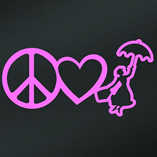 [Peace Love Mary Poppins Vinyl Decal Sticker | Cars Trucks Vans Walls Laptops Cups | Pink | 7 X 3.5 Inch | KCD1636P] (For Rent Disney Costumes)