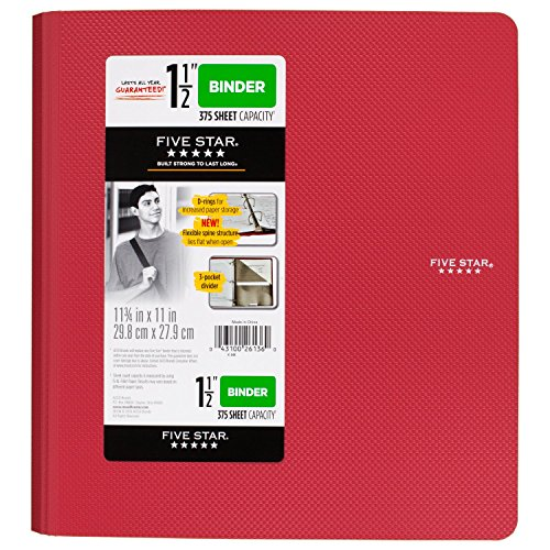 Five Star 1-1/2 Inch 3 Ring Binder, Plastic, Red (38910)