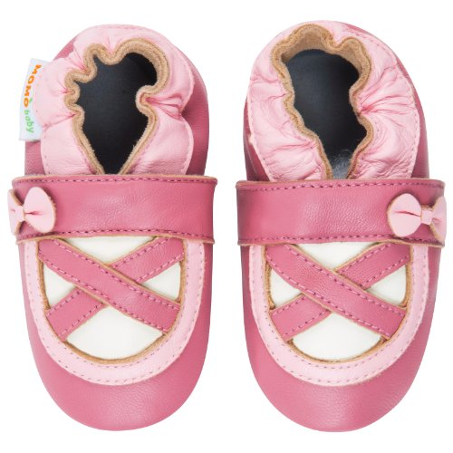 Momo Baby Girls Soft Sole Leather Crib Bootie Shoes - 18-24 Months/6-7 M US Toddler