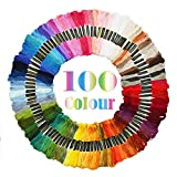 ATDAWN Rainbow Color Embroidery, Cross Stitch Threads, Bracelets, Crafts Floss,100 Skeins: more info
