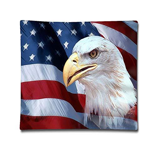 Uwwrticm Patriotic Bald Eagle American Flag Patriotic Decorative Throw Pillowcase Square Pillow Cover 18 X 18 Inch