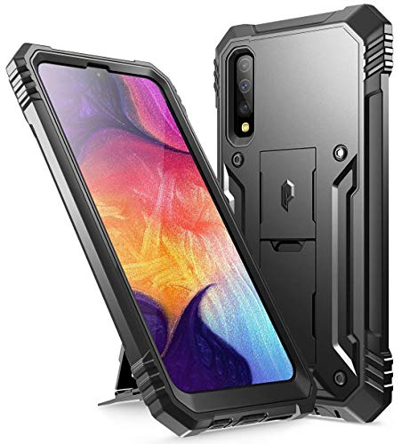 Galaxy A50 Rugged Case with Kickstand, Poetic Full-Body Dual-Layer Shockproof Protective Cover, Built-in-Screen Protector, Revolution Series, Defender Case for Samsung Galaxy A50, Black