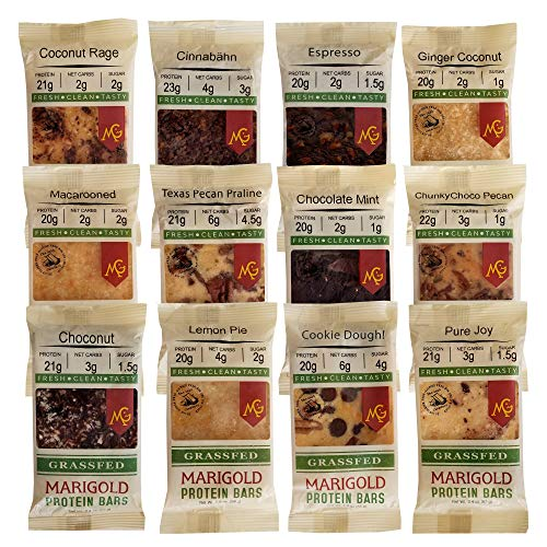 Lectin Free Grass FED Whey Protein Isolate Bars Sampler Pack by Marigold – Amazing Taste Lectin Free Snacks – 21+gm Protein, Low Sugar, Non GMO. Made Fresh, Ships Fresh. Purest Ingredients (12 Bars)
