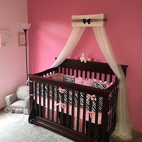Amazoncom Bedroom Girls Bed Crib Canopy White Padded Black Bow