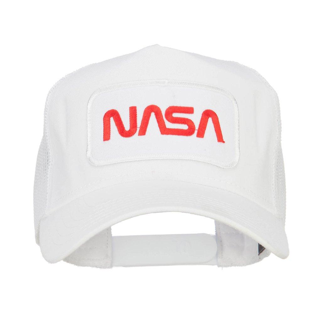 e4Hats.com NASA Logo Embroidered Patched Mesh Back Cap - White OSFM