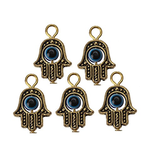 Bead Charm Earrings - MEIBEADS 20pcs/bag 1319mm Hamsa Evil Eye Bead for Snake Chain Charm for Bracelet jewelay making(blue and gold)
