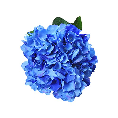 Homyu Artificial Hydrangea Flowers 5 Big Heads Bouquet Beautiful Flowers for Office Home Party Decoration (Dark Blue)
