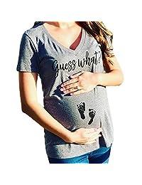 Yogurt Guess What V Neck Short Sleeve Pregnancy Announcement T-Shirt Maternity Shirt