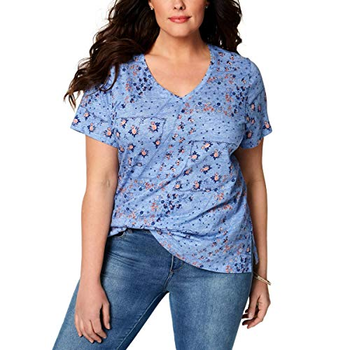 (Style & Co. Womens Plus Floral Print Short Sleeves T-Shirt Blue 0X)