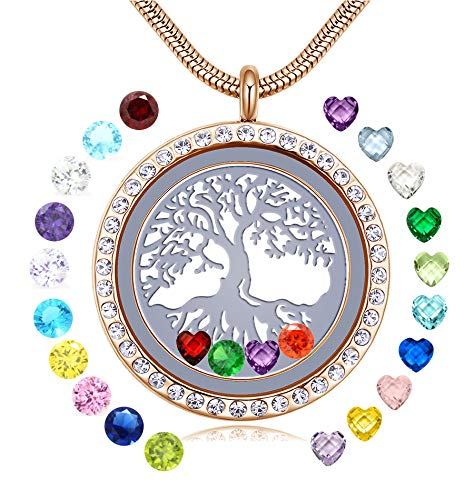 JOLIN 18k Gold Family Tree of Life Floating Locket Necklaces for Mom Nana Grandma Granddaughter Aunt Niece Daughter, 30mm DIY Living Memory Pendant with 24PCS Birthstones