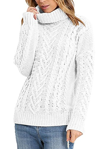 Pink Queen Women's Loose 100% Cotton Turtleneck Irish Ribbed Knit Pullover Sweater White M (Turtleneck Sweater Knit)