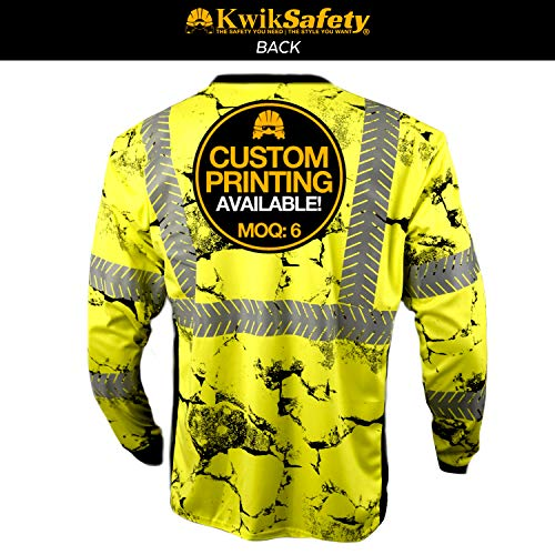 KwikSafety (Charlotte, NC) UNCLE WILLY'S WALL (Chest Pocket) Class 3 ANSI High Visibility Safety Shirt Fishbone Reflective Tape Construction Hi Vis Clothing Men Long Sleeve Camo Yellow Black 2XL by KwikSafety (Image #2)