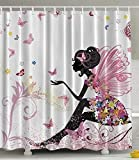 Owen Cocker Pink Butterfly Girl With Floral Dress Flower Design Fairy Angel Wings Fae Home Accent Soft Colors Modern Designer Feminine Decor Dreamy Folklore Shower Curtain