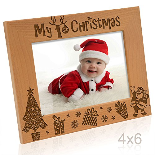 Kate Posh My 1st Christmas Picture Frame, My First, Baby's 1st Christmas, New Baby, Santa & Me Engraved Natural Wood Photo Frame (4x6-Horizontal - - First Frame Picture Christmas
