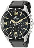 Casio Men's 'Edifice' Quartz Stainless Steel and Leather Watch, Color Black (Model: EFR-553L-1BVCF)