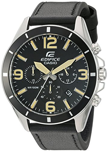 Casio Men's 'Edifice' Quartz Stainless Steel and Leather Watch, Color:Black (Model: EFR-553L-1BVCF) ()
