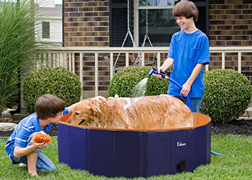 Fuloon PVC Pet Swimming Pool Portable Foldable Pool Dogs Cats Bathing Tub Bathtub Wash Tub Water Pond Pool & Kiddie Pools for Kids in The Garden, (100 x 28cm(39.4inch.D x 11inch.H), Orange)