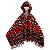 Womens Vintage Hooded Cloak Cape Bohemian Fringed Plaid Shawl (Plaid Red)