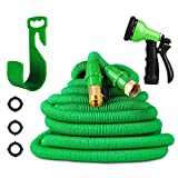 Garden Hose-Expandable Water Hose with Double Latex Core 50ft, 3/4'' Solid Brass Connector, Bonus 8 Way Spray Nozzle(Green)+Hook (green-1)