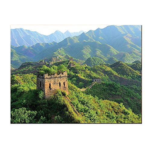 SATVSHOP Decoration paintings-20Lx20W-Great Wall of China Idyllic Aerial View of Historical Construction Invasion Natural Scenery Green.Self-Adhesive backplane/Detachable Modern Art. (Great Wall Of China Periods Of Construction)