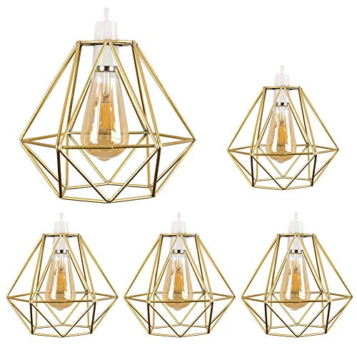 5pcs Vintage Pendant Light, Motent Industrial Modern Minimalist Diamond Cage Hanging Lamp. Creative Iron Wrought 1-Light DIY Lighting Fixture with No Bulb, 7.8