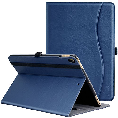 Ztotop Case for iPad Pro 10.5 inch 2017, Premium Leather Business Slim Folding Stand Folio Cover for New iPad Tablet with Auto Wake/Sleep and Document Card Slots, Multiple Viewing Angles, Blue