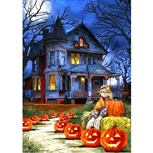 MXJSUA DIY 5D Diamond Painting by Number Kits Round Drill Rhinestone Embroidery Cross Stitch Picture Art Craft Home Wall Decor Pumpkin House Halloween 12x16In