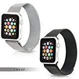 Tranesca Fully Adjustable Milanese mesh band with Magnetic Clasp made of Top grade Stainless Steel for 42mm Apple Watch Series 3 2 1(2 pack, silver+black)