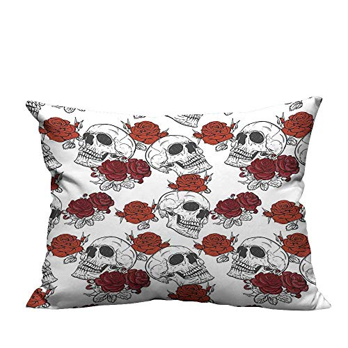 (YouXianHome Zippered Pillow Covers Retro Gothic Dead Skeleton Figures with Rose Halloween Spooky Trippy Romantic Grey Decorative Couch(Double-Sided Printing) 13.5x19)