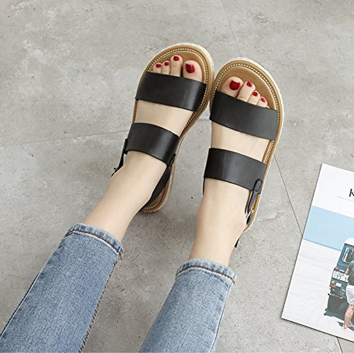 Btrada Women Peep Toe Roman Flat Sandals Buckle Casual Sandals Black RVVF2WiFaZ